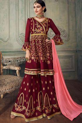 Maroon Georgette Sharara Salwar Kameez