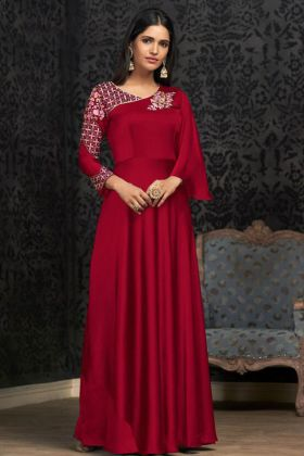 Maroon Glowing Georgette Party Wear Gown