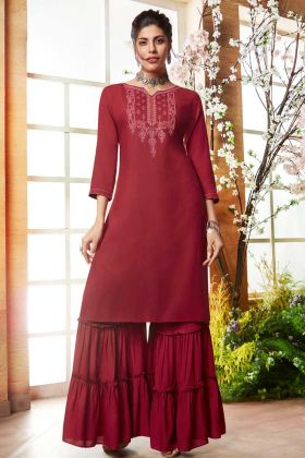 Maroon Heavy Emboidered Work Sharara