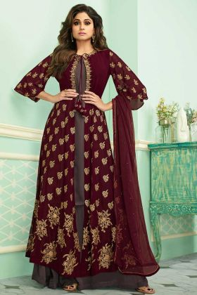 Maroon Jacket style Palazzo Suit In Real Georgette With Dupatta