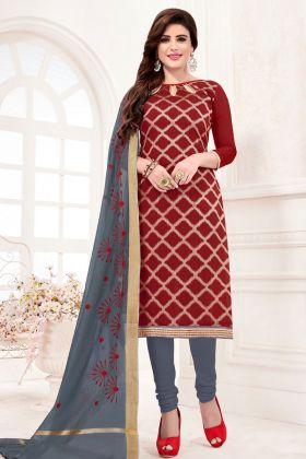 Maroon Jacquard Silk Churidar Suit