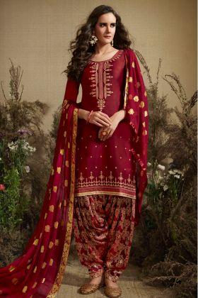 Maroon Jam Silk Cotton Punjabi Salwar Kameez