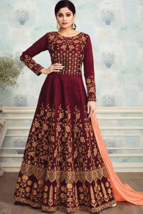 Maroon Mulberry Silk Anarkali Suit