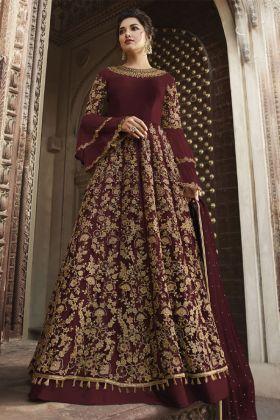 Maroon Net Reception Salwar Suit