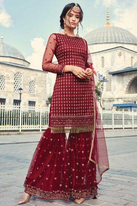 Maroon Net Sharara Salwar Kameez