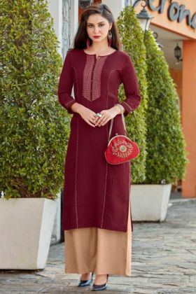 Maroon Palazzo Designer Kurti Set With Thread Embroidery Work