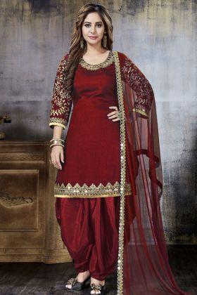 Maroon Punjabi Dress With Mirror Work