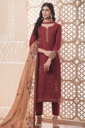 Maroon Pure Cotton Dress Material