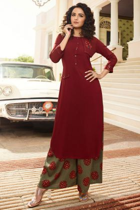 Maroon Rayon Fancy Palazzo Kurti Set With Print Work