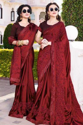 Maroon Satin Chiffon Wedding Saree