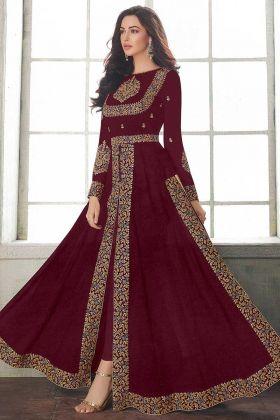 Maroon Semi Stitched Georgette Floor Length Anarkali Style Salwar Kameez