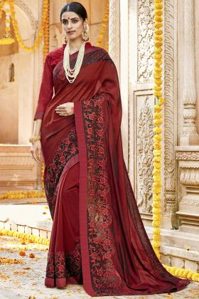 Maroon Silk Georgette Wedding Saree Blouse Designs