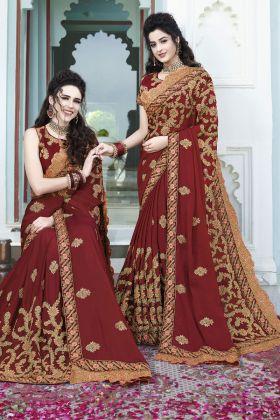 Maroon Silk Georgette Wedding Saree