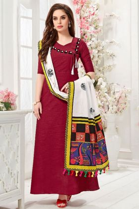 Maroon Slub Cotton Festive Gown