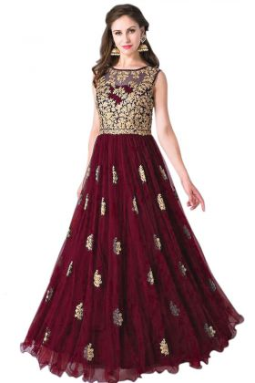 Maroon Soft Net Party Wear Gown