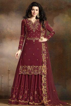 Maroon Soft Silk Sharara Suit
