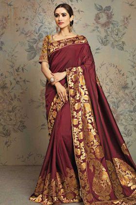 Maroon Weaved Jacquard Silk Fancy Saree Online