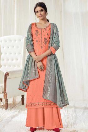 Marvellous Coral Color Pure Dola Cotton Salwar Suit