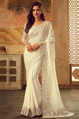 Masaba Silk Party Wear Saree Embroidery Work In Off White Color