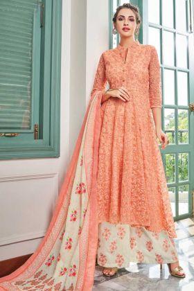 Maslin Anarakali Style Orange Party Wear Salwar Suit