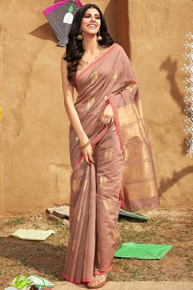 Mauve Color Jacquard Cotton Saree