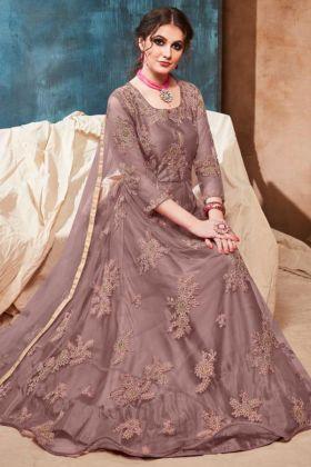 Mauve Color Net Anarkali Salwar Kameez With Embroidery Work