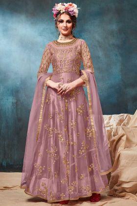 Mauve Color Net Designer Anarkali Dress With Jari Embroidery Work