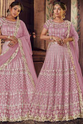 Mauve Color Net Designer Bridal Lehenga Choli With Resham Embroidery Work