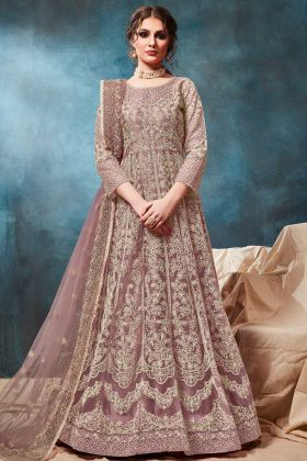 Mauve Color Net Party Wear Gown Style Anarkali Dress