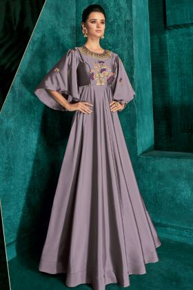 Mauve Soft Art Silk Party Wear Gown Online