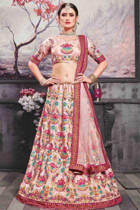 Meetha Pink Silk Bridal Lehenga Choli Online