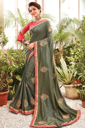 Mehandi Color Chanderi Silk Wedding Charming Saree