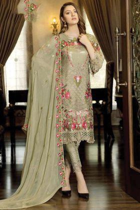 Mehendi Color Exclusive Faux Georgette Pakistani Salwar Suit For Eid