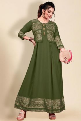 Mehendi Color Hit Fashion Style Heavy Rayon Woman And Girls Dress