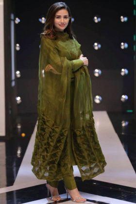 Mehendi Color Plain Salwar Suit With Organza Silk Dupatta