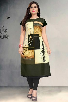 Mehendi Color Crepe Designer Kurti With Printed Work