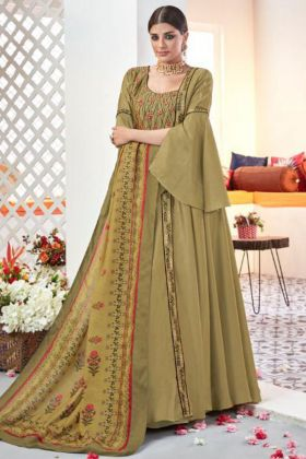 Mehendi Color Heavy Satin Taffeta Anarkali Salwar Kameez