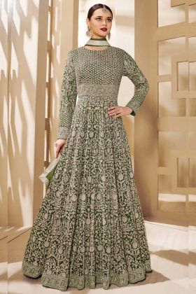 Mehendi Green Color Heavy Butterfly Party Wear Anarkali Dress