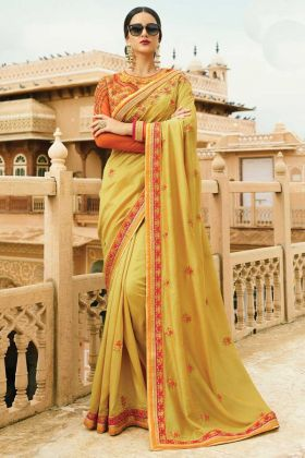 Mehndi Green Color Magic Silk Saree Online