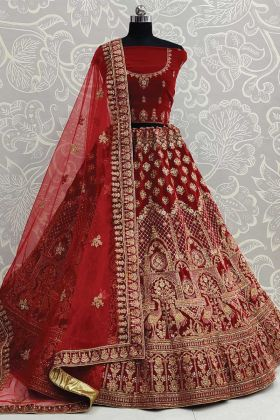 Mind Blowing Embroidered Velvet Bridal Maroon Color Lehenga Choli