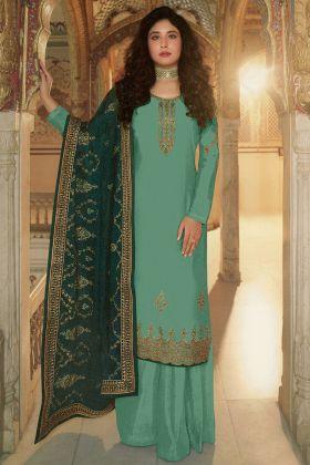 Mind Blowing Sea Green Heavy Ladies Dress In Georgette Fabric