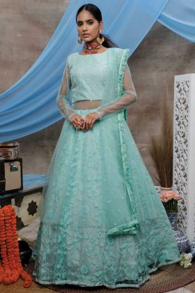 Mint Green Color Designer Party Wear Lehenga Style Gown