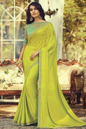 Mint Green Navratna Silk Fancy Saree With Stylist Blouse
