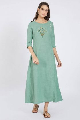 Mint Green Color Polyester Kurti