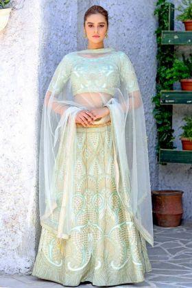 Mint Green Silk Wedding Lehenga Choli