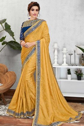 Mirror Embroidery Jacquard Silk New Saree Design
