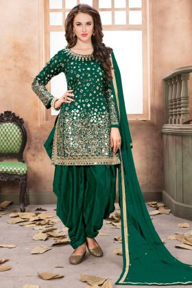 Mirror Work On Dark Green Designer Patiala Salwar Kameez