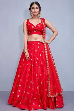 Mirror Work Red Designer Lehenga With Taffeta Silk Fabric