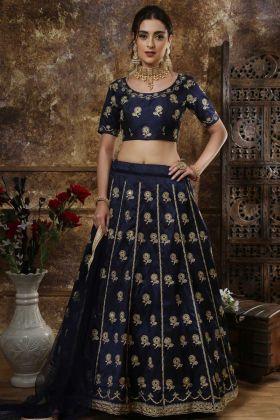 Mirror Work Satin Silk Party Wear Lehenga Choli In Navy Blue Color