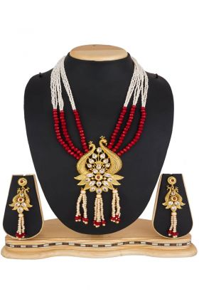 Mix Metal And Stone Work Golden Necklace Set